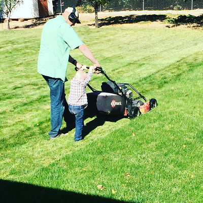 Teaching 3 year old how to mow
